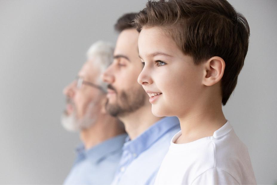 Representação de doenças genéticas entre uma criança, pai e avô.